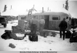 Trailer fire during construction of the Alaska Highway, Tanacross, ca. 1942-1944