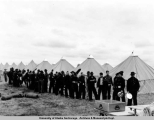 Mess line at soldiers camp, 1940.