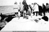 "Whaling crew during production of the movie ""Eskimo"" at Point Hope, Alaska, 1932-1933."