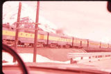 Alaska Railroad cars at Portage, Alaska.