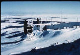 View of antenna dishes at White Alice Communications site on Resolution Island, Nunavut.