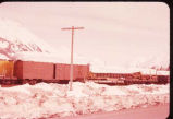 Railroad cars at Portage railroad station along Turnagain Arm.