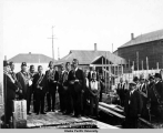 Laying cornerstone of Odd Fellow's Temple, Anchorage, Alaska, August 20, 1923.