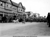 Army band leading Fur Rendezvous parade, Feb. 18-22, 1941.