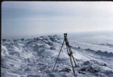 Surveyor's instrument near White Alice Communications site on Resolution Island, Nunavut.