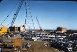 Scene during construction of White Alice Communications site at Cold Bay, Alaska.