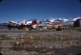 Aircraft at landing area, Baffin Island.