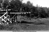 Dock construction at Fort Babcock, ca. 1941-1943.