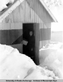 Harry Rice in the powder house at Independence Mine, 1939.