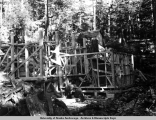 Mill building under construction, Lucky Strike Mine, ca. 1915-1930.