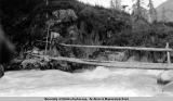 Count Scheney crossing Benjamin Creek, Kenai Peninsula, Alaska, ca. 1908-1928.