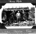 John, George, and Tom in front of Nine Mile Cabin June 1928.