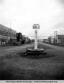 Alaska Highway mile 0 sign, Dawson Creek, B.C., 1949.