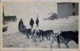 Traveling by dogsled.