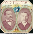 Portrait of R.T. Harris and Joe Juneau. Old Tillicum cigar box picture, ca. 1900.
