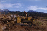 Harold Pomeroy clearing land on his bulldozer at Bear Cove.