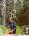 Harold Pomeroy using a chainsaw at Bear Cove.