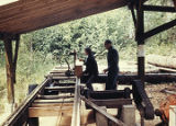 Harold and Roxy Pomeroy in the sawmill at their homestead on Bear Cove.