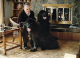Harold Pomeroy at home with his dogs.