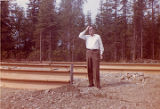 Harold Pomeroy standing in the foundations for his new house in Soldotna.