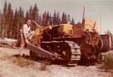 Harold Pomeroy and his bulldozer at Bear Cove.