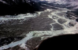 Aerial view of frozen braided river.