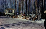 Dog food and supplies for 1973 Iditarod Trail Sled Dog Race, outside Joe Redington Sr.'s home.