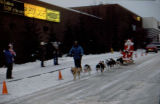 Santa drives Joe Redington Sr.'s dog team by the University Center in Anchorage.