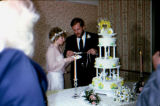 Bride Kathy Walker with groom cutting wedding cake.
