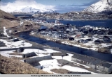 Unalaska, ca. 1950 w[ith] Army barracks in foreground.