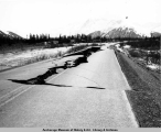 Seward Highway roadbed near Portage destroyed during 1964 earthquake.