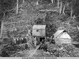 Reynolds-Alaska excursion party at tunnel of Latouche Cop[per] Min[ing] Co., Latouche Island,...