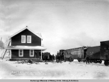 First train leaving new depot, Anchorage, Alaska, Nov. 1st, 1916.