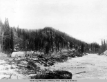 Camp 36, A.E.C. R[ailwa]y, looking up Chicaloon [sic] River, Feb. 10, [19]17.