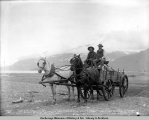 Judge D.A. McKinzie leaving Valdez for Copper Center in one of Copper River Draying Co.'s wagons...