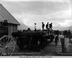 Car no. 101, the first car landed for the Valdez-Yukon R[ailwa]y Co., Aug. 15, [19]06.