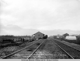 General view of A.E.C. R[ailwa]y buildings and camp, Matanuska Junction, Aug. 24, [19]16.