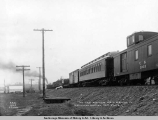 The first passinger [sic] coach arriving at Matanuska Junction, Sept. 27, [19]16.
