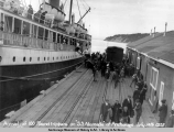 Arrival of 100 roundtrippers on S.S. Alameda at Anchorage, July 14th, 1923.