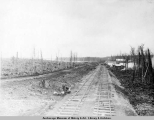 Temporary town of Wassila [sic], Alaska, looking up main line A.E.C. R[ailwa]y, May 4, [19]17.