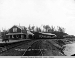 A.E.C. R[ailwa]y passinger [sic] depot and city freight shed, Anchorage, Alaska.