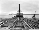 "Launching the A.E.C. dredge ""Sperm"", May 25, 1918."