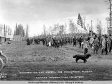 Decoration Day, May 30th, 1918, Anchorage, Alaska, parade approaching cemetery.