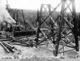 North end tower, Hurricane Gulch bridge, Aug. 13, 1921.