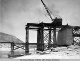 South end of main span, Tanana River bridge, 10-27-1922.
