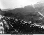 "View showing station men constructing switchback, and the trestle, ""mile 49"", Oct. 8,..."