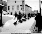 Mail team leaving the post office after unloading, Mar[ch] 15, 1907.