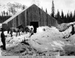 Horse stable, mile 264, A[laska] N[orthern] R[ail]road, May 20, 1920.