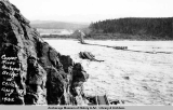 Copper River Railway bridge washed out, 1932.