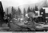 Clearing right of way, Broadway, Skagway, W[hite] P[ass] & Y[ukon] Route, June 1889.